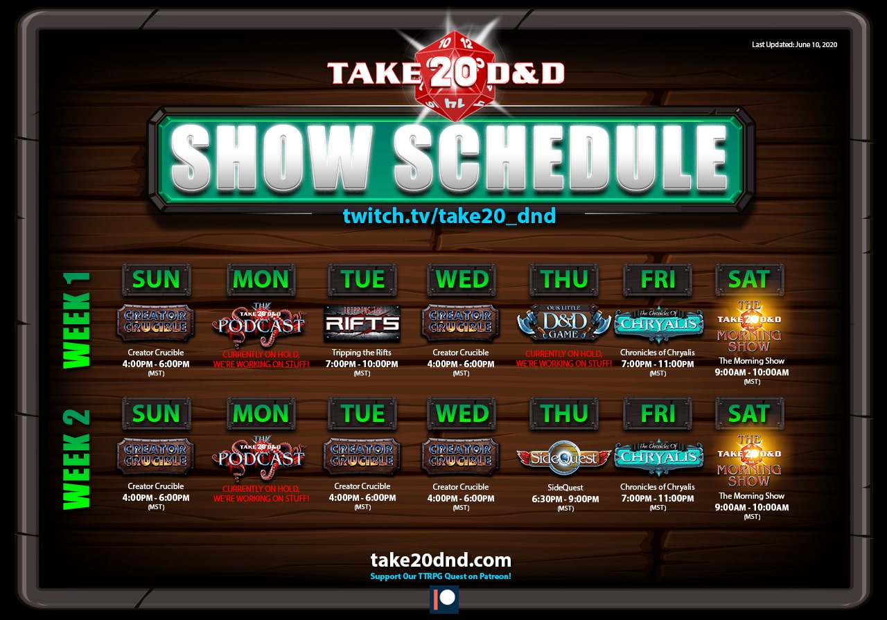 Take20 D&D - Show Schedule
